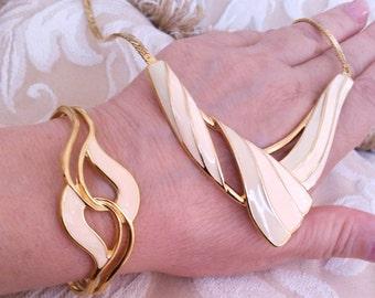 Necklace & bracelet set, vintage jewelry set, statement necklace, bib necklace, enamel necklace,