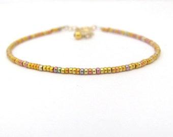 Rose Gold Glass Bead Bracelet, Dainty Beaded Bracelet, Seed Bead Bracelet, Gold Glass Bead Bracelet, Rose Gold, Thin Bracelet