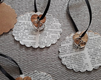 4 Handmade gift tags. Vintage dictionary tags. Heart tags