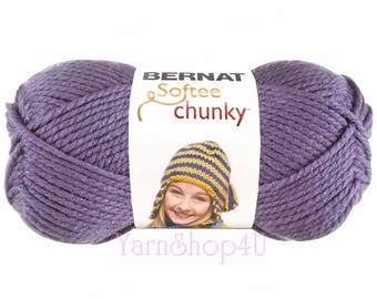 LAVENDER Bernat Softee Chunky Yarn. It's a thick Solid Medium Purple Super Bulky yarn; For Quick knit or crochet projects. Acrylic Yarn. √