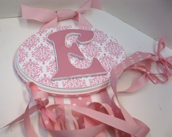 Pink and White Damask Initial Bow and Barrette Holder