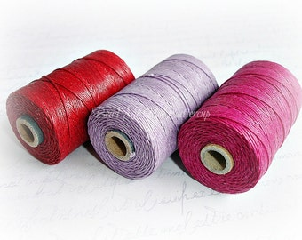 4 ply Irish Waxed Linen Cord Red - 1 Yard