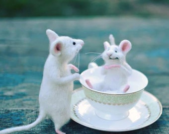 Needle wool White mouse Mouse kitchen Mouse and kitchen Cute