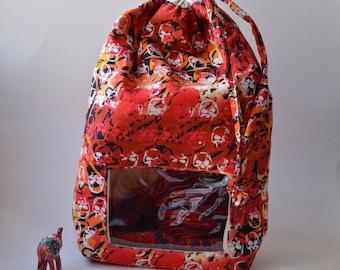 Set Large Jharokha (clear vinyl window) Project Bag + Notions Pouch, Potli, drawstring sack, flat bottom sack, knitting, crochet