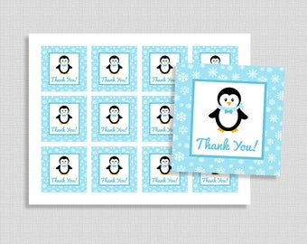 Penguin Favor Tags, Blue Penguin Thank You Party Favor Tags, Winter Snowflake Baby Shower, INSTANT PRINTABLE