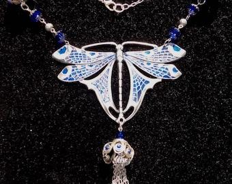 Art Nouveau Style Dragonfly Necklace-OOAK