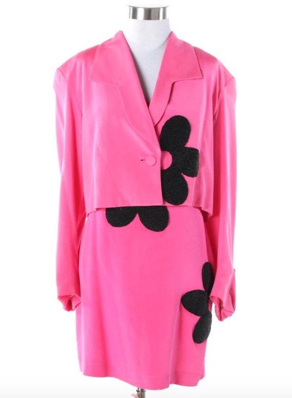 Rita Mildred for Henri Bendel beaded silk minidress suit, early 1990s.