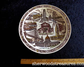 "Vintage Vernon Kilns San Francisco Plate Exc.  10 1/2""  Golden Gate Bridge Cliffhouse Chinatown Coit Tower"