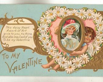 Vintage Valentine Postcard, Daisy Heart, Cupid Valentine Series, 1911