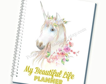 2018-2019 Planner, Daily Planner, Unicorn, Personalized Planner, Weekly Planner, Custom Agenda, Weekly Planner, Planner Accessories