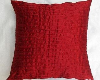 red pintuck artsilk throw pillow 26inch decorative cushion cover modern design.