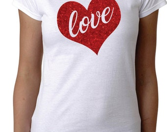 Love Valentine Shirt Valentine Day Shirt Red Glitter Heart Shirt