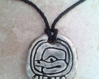 Mayan CHIKCHAN Necklace Mesoamerican Ceramic Snakebite Tzolk'in Day Sign Amulet Blue Grey Pendant Aztec Calender Olmec Symbol