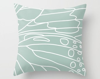 Butterfly Wing Pillow  - Seafoam Sage Green  - Pastel Neutral Home Decor - By Aldari Home