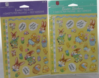 2 Packs Bloomer Bunny American Greetings Easter Stickers -- 4 Sheets/Package -- Easter, Chick, Egg, Basket