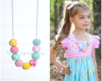 Birthday Party Cord Necklace-Light Pink Yellow Turquoise and Pink-M2M Eleanor Rose-Baby-Toddler-Girls-Women