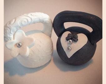 Bride and Groom Kettlebell Wedding Cake Topper