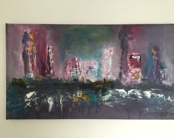 "Acrylic image Painting acrylic abstract ""city"""