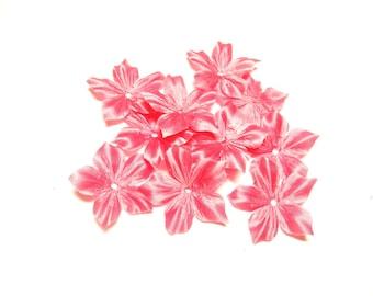 2 FLOWER SHAPED DIAMETER 35 MM DUSTY ROSE SILK DUCHESS SATIN