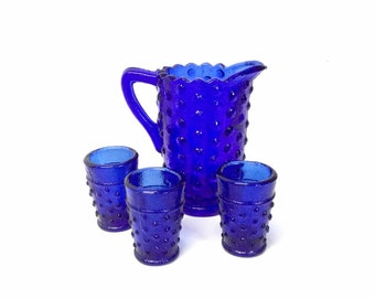 Mini Pitcher & Tumblers, Cobalt Blue Hobnail Lemonade or Iced Tea Set