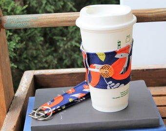 Cup Cozy Key Fob Gift Set, Cup Cozy, Key Fob, Fox Fabric, Fox Fabric Cup Sleeve and Matching Key Fob, Gift Idea, Gift Set, Teacher Gift