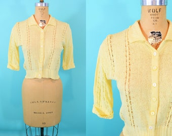 """1950s knit cardigan   yellow pointelle button down knit sweater   vintage 50s cardi   W 27"""""""