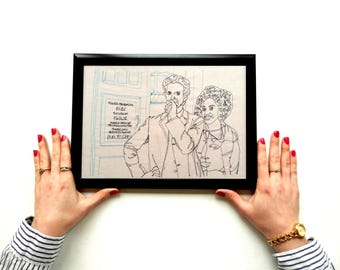 Stitched Up! Dr Who - The Doctor and Bill - Framed A4 Embroidery Art