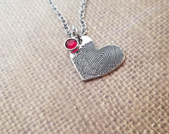 INK-1 LARGE FINGERPRINT heart Necklace in solid Fine .999 Silver-includes chain+birthstone