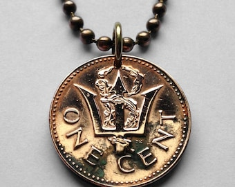 1973 to 2010 Barbados cent coin pendant Barbadian Bajan trident Bridgetown 3 pronged spear fishing Poseidon Neptune sea god necklace n000010