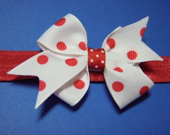 Red And White Polka Dot Hairbow With Red Interchangeable Headband - For Infant Toddler Girl