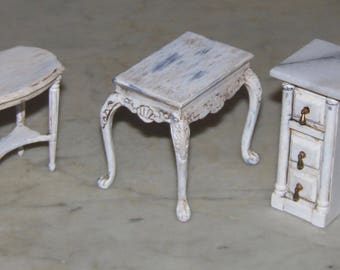 Small Tables for 1:12th Dollhouse.  Three to choose from.   Painted and Glazed.