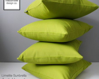 Decorative Outdoor Pillow Cover, Modern Acid Green Pillow Cover, Limelite Sunbrella Cushion Cover, Apple Green Throw Pillow Cover, Mazizmuse