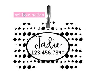 Personalized Pet Tag, Dog Tag, ID Tag, Black And White Polka Dots Pet Tag With Name And Phone Number