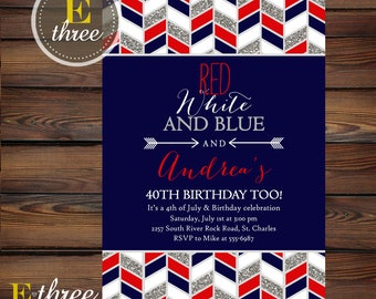 4th of July Birthday Party Invitation - Red White and Blue Fourth of July Party Invite - Silver Glitter