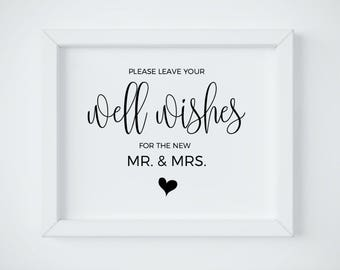 Well Wishes Sign For The New Mr. and Mrs Sign, Please Leave your Well Wishes, Wedding Advice sign, Printable Wedding Sign, Instant Download