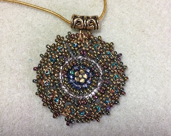 Gold and Copper Beaded Medallion Necklace