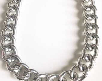Glossy silver chunky links necklace, Extra Large Silver Chunky Chain, Silver Curb Chain, Silver Chunky Chain, chunky chain  jewelry