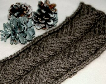 """Hand knit headband/earwarmer for men in supersoft and warm Qiviut-Alpaca-Merino-blend with cable pattern """"Hernando Island"""" - READY TO SHIP"""