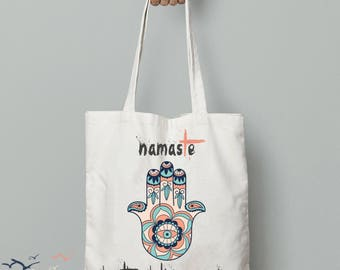 Namaste bag, hamsa hand, yoga gifts for women, gym bag quote, yoga gifts for teacher, yogi gifts, gymnastics gift, gym bag for girls,breathe