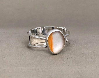 Orange and White Open Band Ring