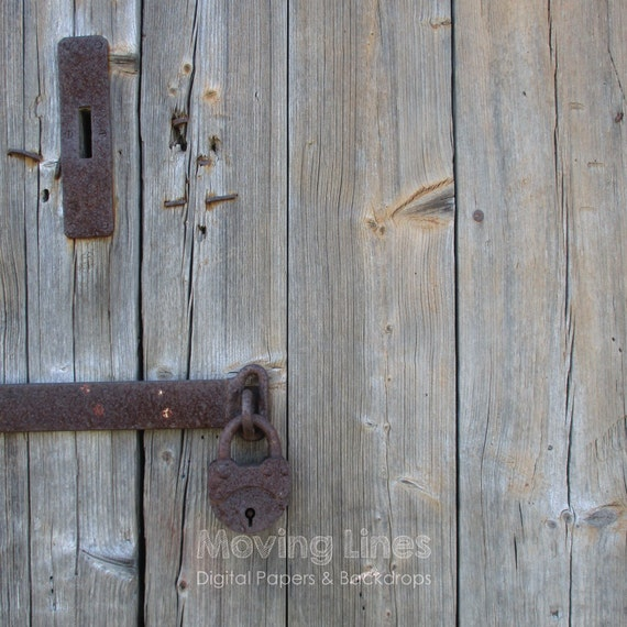 Barn Door Photography Backdrop Rusty Lock Weathered Wood