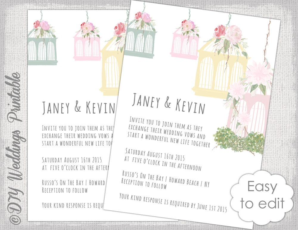 Birdcage Wedding invitation template Printable wedding