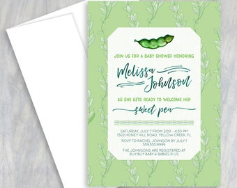 Sweet Pea Baby Shower Invitation, Two Peas in a Pod, Twin Baby Shower, Pea in the Pod, Its a Girl, Its a Boy, Pea in a Pod Shower