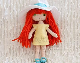 """CUSTOM Jane Poppet Felt Doll - 8"""" Handmade Posable Doll - Poppet Doll - Custom Doll - Dolls - Toys - Gingermelon Doll"""