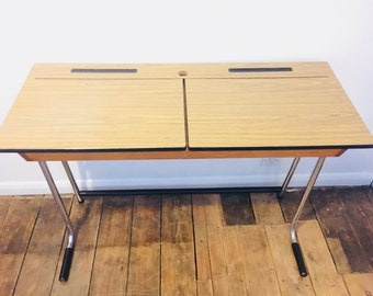 Mid Century desk | Vintage double school desk in chrome and formica