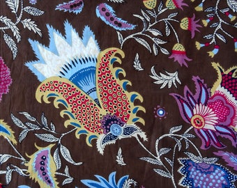 fabric, Brown and multicolor cotton, large PAISLEY collection.