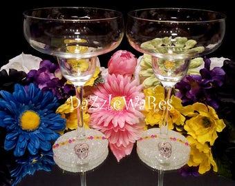 MARGARITA- SUGAR SKULLS Beaded Margarita Glasses - Set of 2- Day of the Dead- Dia de los Muertos -Halloween- Home Decor- Entertaining- Party