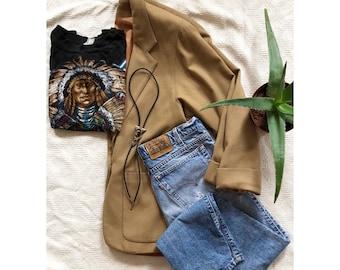 80s Vintage Blazer // Vintage Modern Style Blazer // Camel Colored Blazer // Vintage Men's Blazer