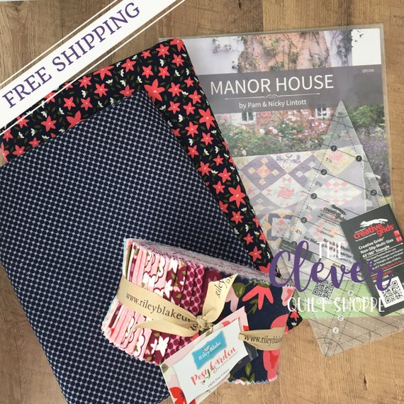 Sampler Quilt Kit, Manor House, Posy Garden, Riley Blake Designs, Precut Quilt Kit, Backing, Floral, Geometric, Navy, Pink, Teal, Mint