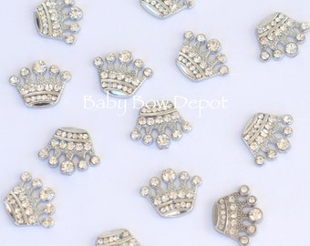 Wholesale 50 Crown Flat Back Clear Rhinestone Embellishments